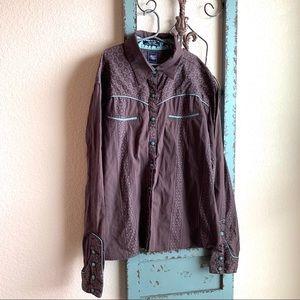 Cruel Girl Brown & Turquoise Western shirt